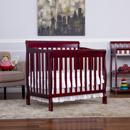 Aden 3 in 1 Convertible Mini Crib - Cherry