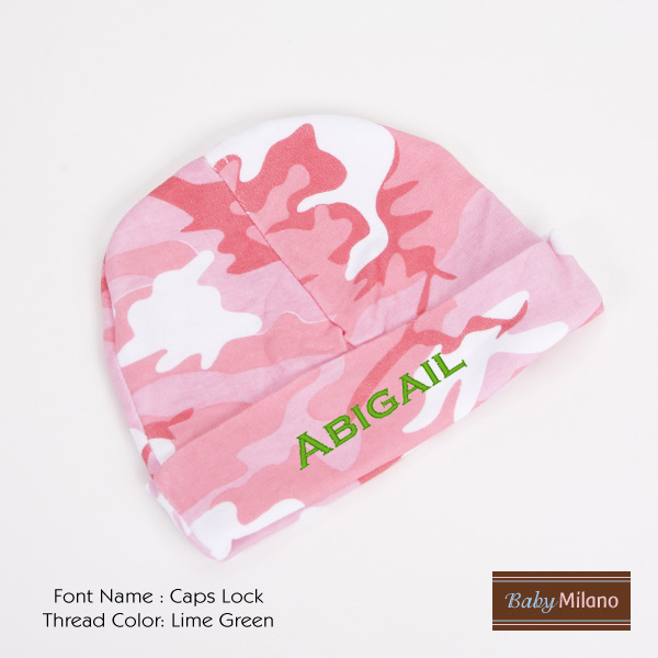Personalized Pink Camo Baby Hat with Name by Baby Milano ... f83ed442b63c