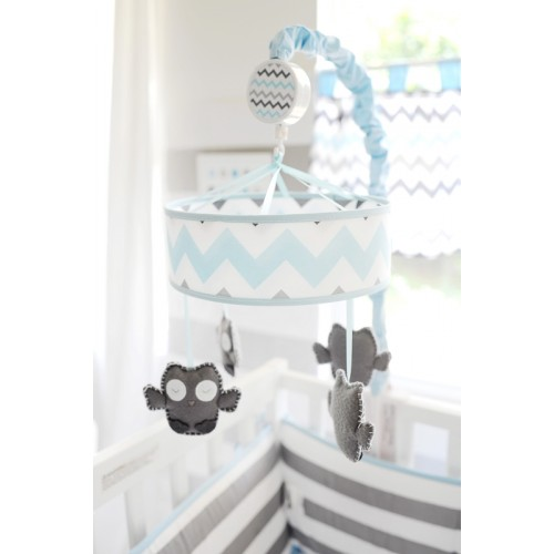 Chevron Baby in Aqua Mobile